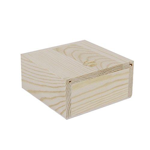 De madera caja de almacenaje de la joyería pequeño regalo Gadgets 8,4 x 8,4 x 4,1 cm Romote pequeña llanura