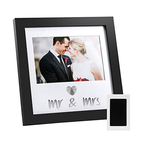 Jinchuan Heart Thumbprint Keepsake Frame and Ink Kit Wedding Picture Frame Wedding Registry Idea Shower Gift for Bride Newlywed (Black Frame  Silver Text)