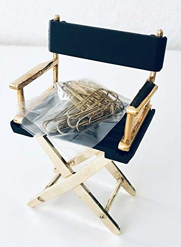 Directors Chair - Magnetic Paper Clip Holder (Black & Gold)