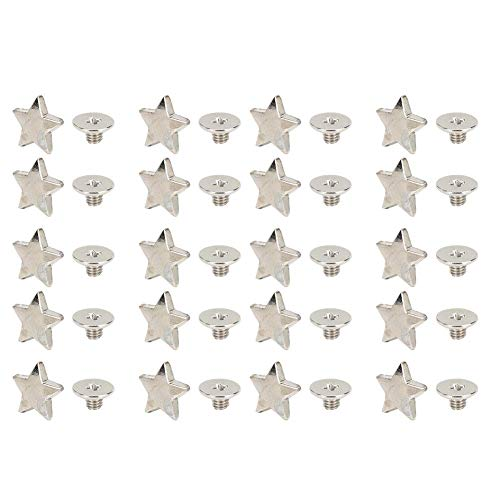 Atyhao 20 Piezas Remache en Forma de Estrella, botón de Perno Prisionero Estrella Remaches de Estrella Tachuelas Broche Bricolaje Ropa Zapatos decoración con Tornillos(Plata)