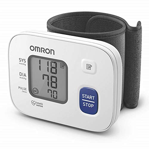 Omron HEM 6161 Fully Automatic Wrist Blood Pressure Monitor with Intellisense Technology, Cuff Wrapping Guide and Irregular...