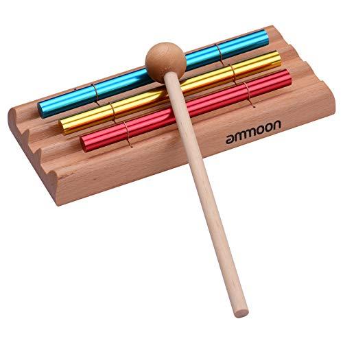 Klangspiel für Tische, ammoon 3-Knopf-Windspiel-Tischuhr, Pädagogisches Musikspielzeug für Kinder, Das Zur Meditation Verwendet Werden Kann, Schlaginstrument mit Schlägeln