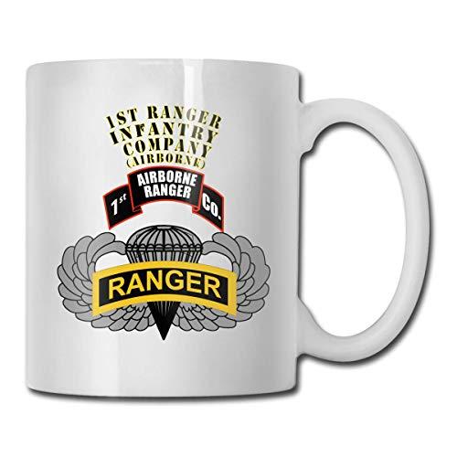 NA 1st Ranger Infantry Co Airborne Badge Tab Tab Taza de Regalo Divertida Taza de té Blanco 11 Oz