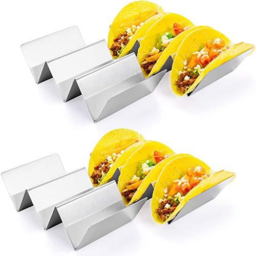 Soportes de acero inoxidable, juego de 4 soportes de taco con capacidad para hasta 3 tacos cada uno como platos, soporte para horno de tabaco, seguro para lavavajillas, microondas, horno y parrilla