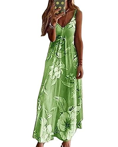 SKYWPOJU Vestidos largos Vestido de verano para mujer Vestido informal suelto sin mangas con cuello en V Vestido de playa Vestidos bohemios Vestido largo de fiesta con estampado de Bohemia Vestido lar