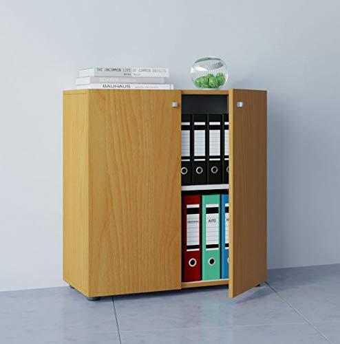 VCM Büroschrank Aktenschrank Bücherregal Universal Ordner Schrank Regal Buche 70 x 70 x 39 cm
