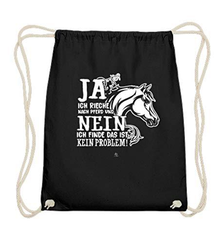 EBENBLATT Ich rieche nach Pferd Pferde Spruch Reiten Reiter Reitsport Pferdeliebhaber Geschenk - Baumwoll Gymsac -37cm-46cm-Schwarz