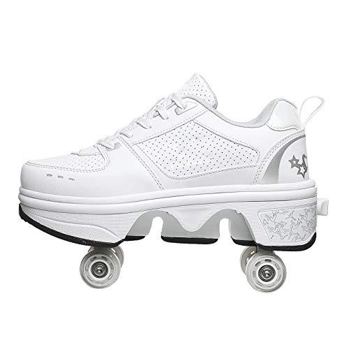 FUYY Patines En Línea, Zapatos Multiusos 2 En 1, Botas De Patines De Cuatro Ruedas Ajustables,White-35