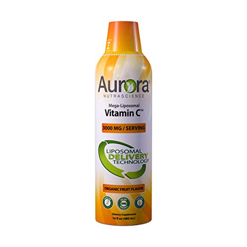 Aurora Nutrascience Mega Liposomal Vitamin C 3000 mg per Serving 16 oz Liquid - High Absorption, Fat Soluble VIT C, Antioxidant Supplement, Higher Bioavailability Immune System Support (16 oz.)