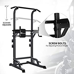 Wesfital Power Tower Pull Up Dip Station, Pull Up Tower Workout Station Height Adjustable Strength Training Equipment for Fitness Home Gyms