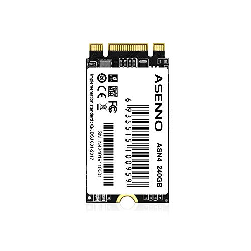 ASENNO SSD MSATA NGFF M.2コンピューター用内蔵SSDソリッドステートドライブ (240GB, M.2 2242MM)