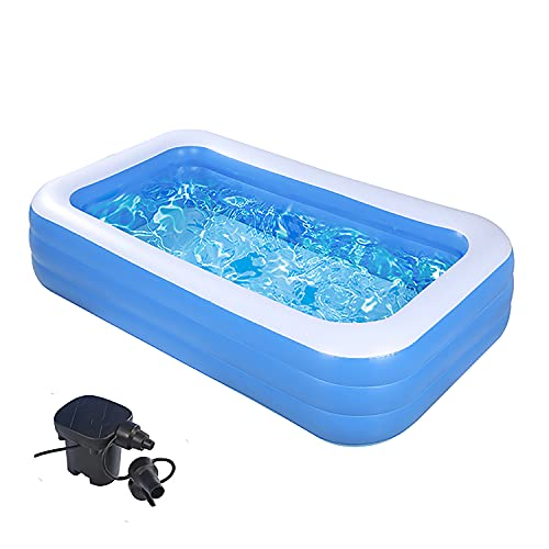 """Swimming Pools with Pump-Inflatable Kiddie Pool-122""""x70""""x 27""""Full-Sized Pools Above Ground-Thickened Blow Up Pool - Swim Center for Kids, Adults, Outdoor, Water Party,for Ages 3+"""