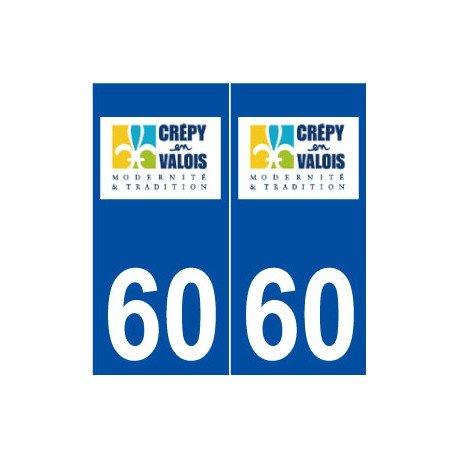 60 Crépy-en-Valois logo autocollant plaque stickers ville - Angles : droits