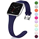 Hamile for Fitbit Versa/Versa 2/SE/Lite Bands, Slim Soft Silicone Wristbands Fitness Straps Replacement Belt for Fitbit Versa Lite Edition Fitness Smart Watch Band, Women Men Kids, Small (Navy)