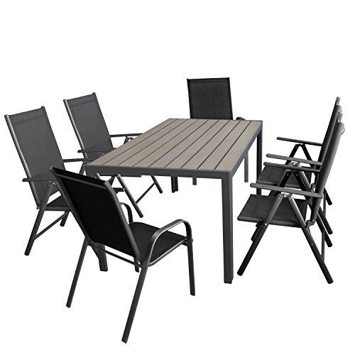 Wohaga Gartenmöbel-Set Aluminiumtisch mit Grauer Polywood-Tischplatte, 150x90cm 4X verstellbare Alu Hochlehner mit Textilenbespannung 2X Stapelstuhl mit Textilenbespannung