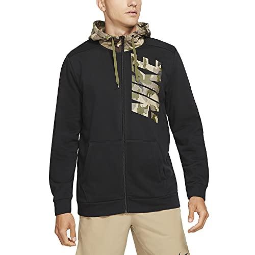 Nike Sudadera para hombre con capucha y cremallera Dri-Fit Camo Cód. DD1733-010, negro/verde, M