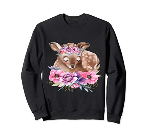 Baby Reh Rehkitz mit Blumen Waldtiere Natur Tierliebhaber Sweatshirt