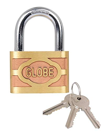 SH Retail Globe Top Security Automatic Pressing Brass Pad Lock (Gold, 3 inch)