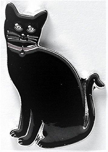 Chat en métal émaillé Motif chat Noir