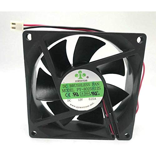 N / A Cooling Fan PY-8025H12S,Server Cooler Fan PY-8025H12S 12V 0.21A, Ultra-Quiet Chassis Cooling Fan for 80x80x25mm 2-Wire