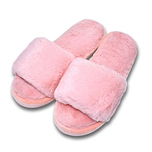 COFACE Damen Süßes Bett Hausschuh Warmer Plüschfell Slipper Baumwolle Pantoffel rutschfeste Schuhe Für Herbst/Winter in 5 Farben,Pink-38/39