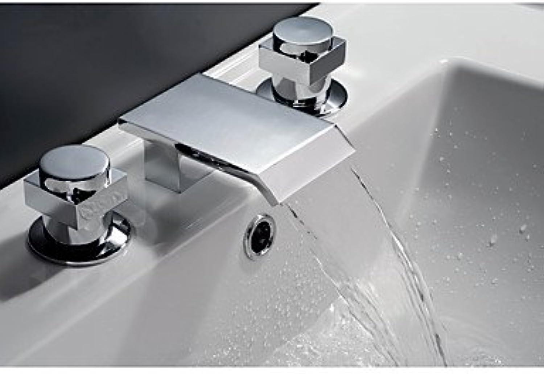 Bathtub Faucet - Contemporary Art Deco Retro Country Chrome Widespread Ceramic Valve