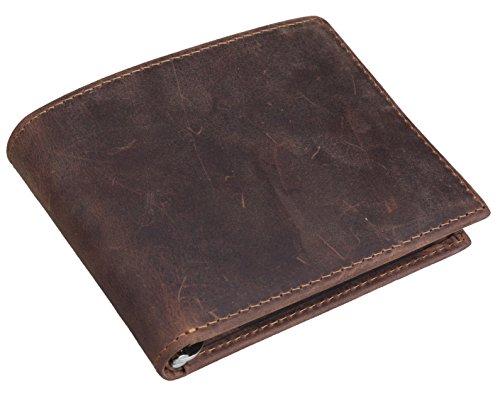 [(チョウギュウ) 潮牛] マネークリップ メンズ 本革 二つ折り財布 カード入れあり 経年変化 オイルレザー 薄マチ ビンテージ風 ブラウン