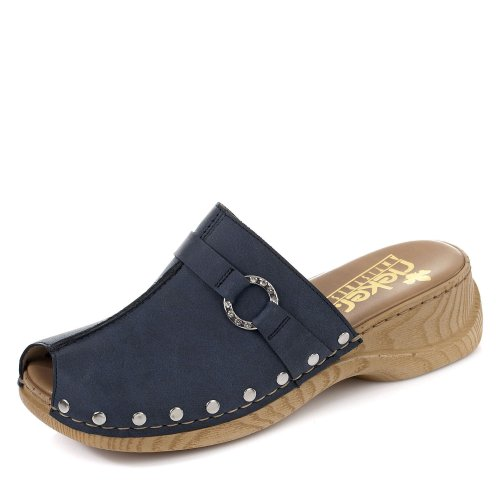 Rieker 65062 Damen Clogs&Pantoletten,Gummi-Pantolette,Sommerclogs,modisch,Fashion,denim/15 (Blau),38 EU / 5 UK