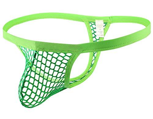 Swbreety Men's Sexy Mesh Fishnet See Through Low Waist Underwear Thong G-String Green