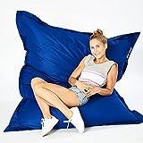 Green Bean © Square XXL Riesensitzsack 140x180 cm - 380L - Indoor und Outdoor - waschbarer Bezug mit Klett- & Reißverschluss, doppelt vernäht - Sitzsack Lounge Chair Sessel für Kinderzimmer - Blau