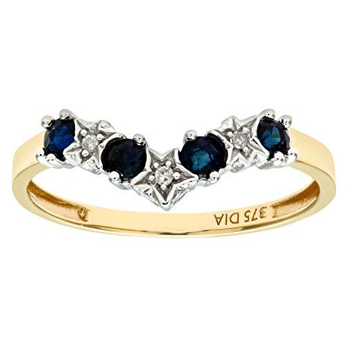 Naava Women's 9 ct Yellow Gold Sapphire and Diamond Wishbone Ring