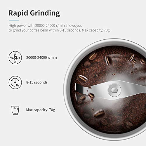 SHARDOR Coffee Grinder Electric with Removable Stainless Steel Bowl,Grinder for Dried Spice, Pepper, Grain, Coffee Bean, Nuts Safe 304 Stainless Steel Blades, 24000rpm PowerfulGrinder Motor,70ml