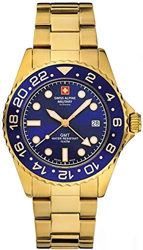Swiss Alpine Military GMT 7052 - Reloj de pulsera analógico para hombre (mecanismo de cuarzo, acero inoxidable), Oro/negro/azul – 1115 sam., Pulsera
