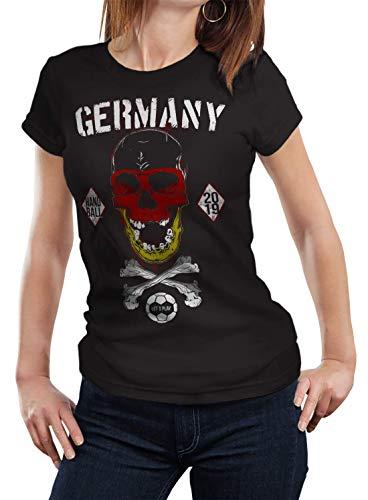 NG articlezz Damen T-Shirt Deutschland Handball Skull Germany Totenkopf Gr. S-XXL