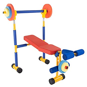 Hey! Play! Toy Bench and Leg Press – Children's Play Workout Equipment for Beginner Exercise Weightlifting Powerlifting - for Boys and Girls Brown  80-SH-04