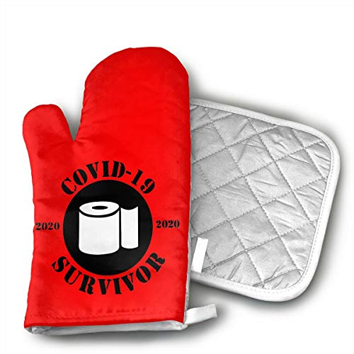 antcreptson Covid -19 Survivor Coronavirus Oven Gloves Thick Cotton Kitchen Stylish Cotton Oven Gloves Oven Gloves are Machine Washable-Perfect for Cooking, Baking, Grilling