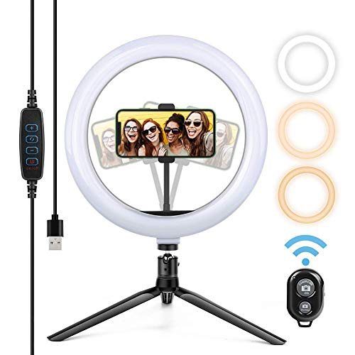Selfie Ringleuchte Stativ mit Fernbedienung,Tischringlicht mit 3 Farbe und 10 Helligkeitsstufen, Live Licht für schöne Fotos oder Videosschooting, live Streaming, Portrait, schminken usw.