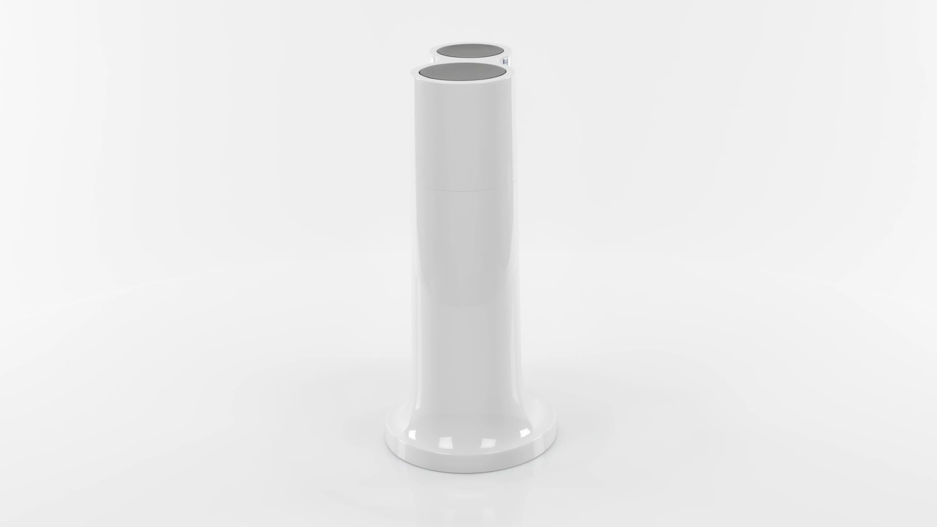 Levivo, botella para gasificadora, gas para agua, cócteles y otras bebidas, sin CO², Cilindro, Blanco