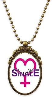 Identity Status Single Women Antique Necklace Vintage Bead Pendant Keychain