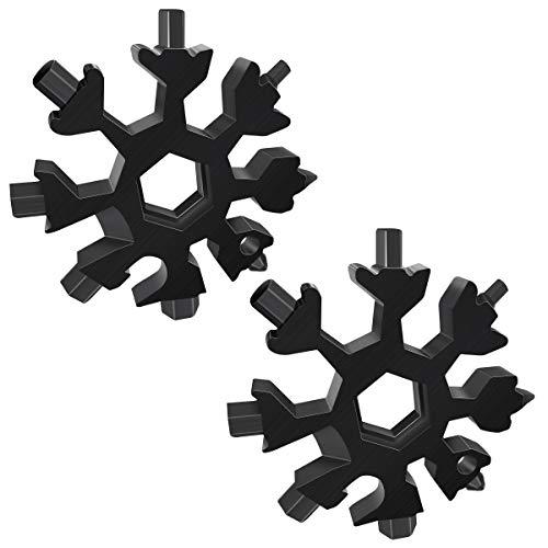 2 Stück 18-in-1 Schneeflocken Multi-Werkzeug, Edelstahl-Flaschenöffnerschlüssel, flaches Kreuz-Schraubendreher-Set, tragbares Multitool, cooles Vatertagsgeschenk, Weihnachtsgeschenk (2 x schwarz)