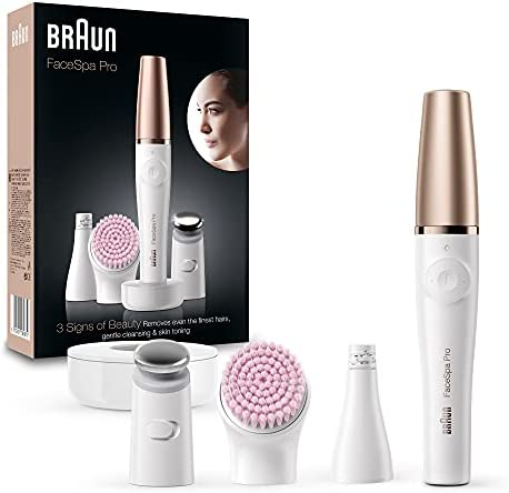 Braun FaceSpa Pro SE912 All-in-One Beauty Face Including Facial Epilator, Toner Head and Sensitive Cleansing Brush, Rechargeable Cordless Use, White/Bronze [ 2- Pin UK Bathroom Plug]
