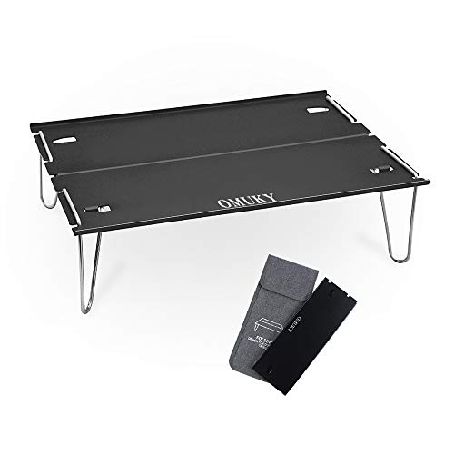 折りたたみテーブル キャンプ ミニテーブル 折り畳みテーブル コンパクト 「アルミ・ステンレス」 耐熱 軽量 収納袋付き 持ち運び便利 室内・室外にも対応(ブラック)