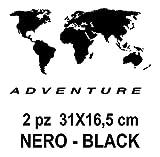 2 pegatinas de mapamundi | aptas para maletas de moto – R 1200 1150 1100 GS maletas Adventure R GS ADV Motorad Moto – Color: negro