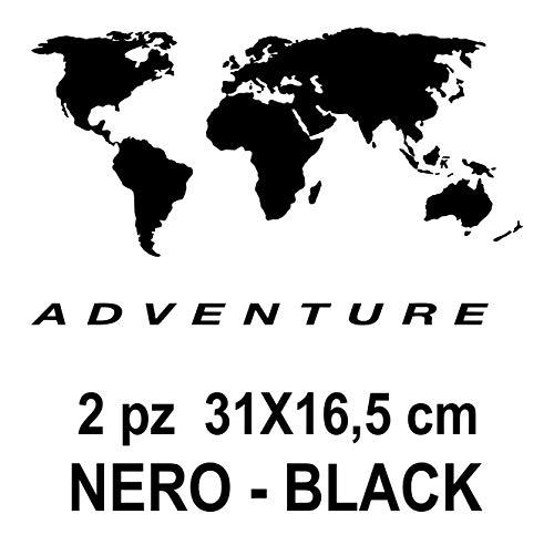2 pegatinas de mapamundi   aptas para maletas de moto – R 1200 1150 1100 GS maletas Adventure R GS ADV Motorad Moto – Color: negro