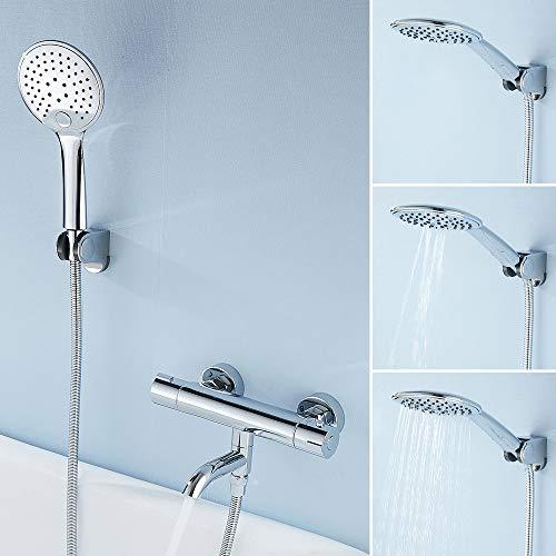 ODOMY Duschthermostat Brausethermostat für Dusche Badewanne mit Thermostat Handbrause und Halterung Chrom Mischbatterie mit 38 °C Sicherheitstaste und drehbarem Auslauf aus Messing Edelstahl 1/2 Zoll