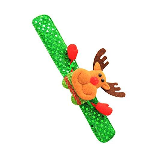 YeahiBaby Elch Hirsche LED Glow Slap Armband Pailletten Armband für Kinder Jungen Mädchen Erwachsene Geburtstag Weihnachten Party Supplies Gefälligkeiten