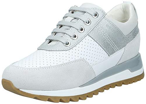 Geox Damen D TABELYA B Sneaker, Weiß (White/Azure C1343), 39 EU