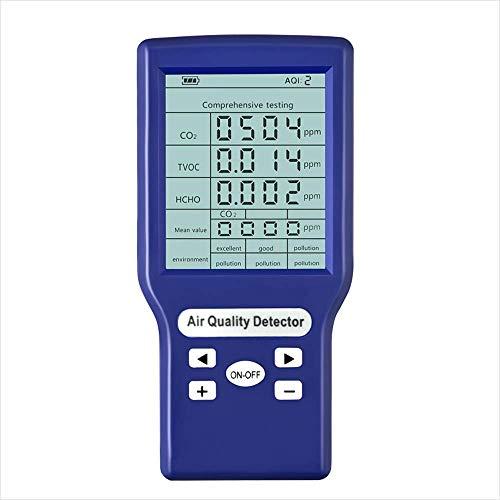 5-in-1 Luftdetektor, CO2-ppm-Messgeräte, Luftqualität-Messgerät, Formaldehyd(HCHO)-Messgerät,TVOC Und AQI Monitor Multi Gas Analysator präzises Testen für Häuser, Autos und im Freien Blau