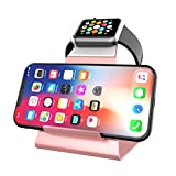 XUNMEJ iWatch Stand Holder, Aluminum NightStand Apple Watch & iPhone Universal Desktop Charging Station for iWatch Series 6 5 4 3 2 1 iPhone 12/11/11Pro/11Max/Xs/Xs Max/XR/X/8/8P/7/7Plus(Rose Gold)