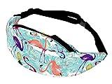 Alsino Unisex Bauchtasche Festival Hippie Hipster Gürteltasche mit Reißverschluss und Innenfach - 13 cm Breit, All-Over Print Motiv, GT-106 Flamingo Ananas